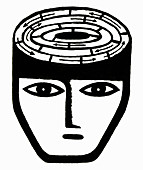 Arrows in circle maze in man's head, illustration