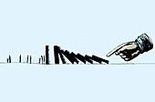 Finger pushing large dominoes toward people, illustration