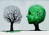Faces forming dead tree and healthy tree, illustration