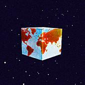 Cube globe, illustration