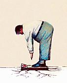 Ground cracking under obese man, illustration