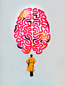 Man in trench coat looking up at large brain, illustration
