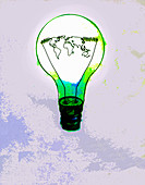Global map inside green light bulb, illustration