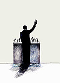 Rear view of man speaking from podium, illustration