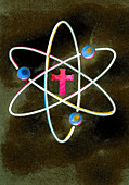Cross at the centre of atom symbol, illustration