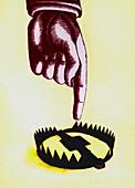 Finger pointing towards open trap, illustration