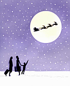 Child looking up at silhouette of Santa Claus, illustration