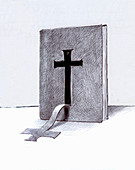 Cross peeling from cover of bible, illustration