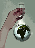 Hand holding beaker containing globe, illustration