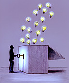 Man unlocking illuminated light bulbs from box, illustration
