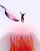 Man jumping out of the frying pan, illustration