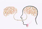 Tangled line inside man's head, illustration