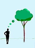 Businesswoman thinking of tree thought bubble, illustration