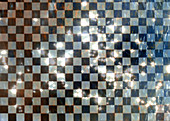 Black and white checked tile pattern, illustration