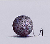 Man holding end of ball of string, illustration