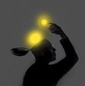 Man lifting glowing bulbs out of open head, illustration