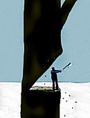 Man at risk chopping down tree, illustration