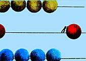 Man pushing ball on large abacus, illustration
