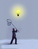 Businessman chasing hovering bulb with net, illustration