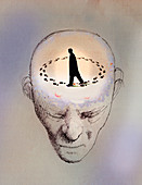 Anxious man going round in circles, illustration