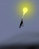 Businessman holding on to bulb balloon, illustration