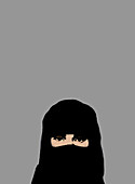 Muslim woman wearing niqab, illustration