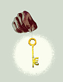 Hand holding euro symbol key, illustration
