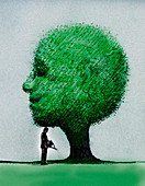 Businessman watering smiling tree, illustration