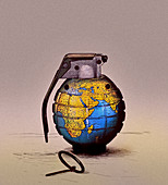 Pin pulled on globe grenade, illustration