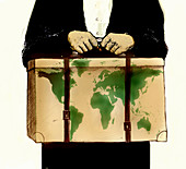 Immigrant carrying belongings in box, illustration