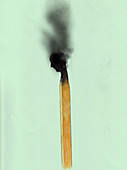 Man's head on top of burnt out match, illustration