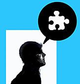 Jigsaw puzzle piece in speech bubble, illustration