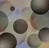 Abstract network grid pattern over spheres, illustration