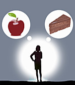 Woman deciding between apple and cake, illustration
