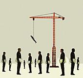Crane lifting businessman above the crowd, illustration