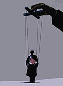 Businessman manipulating puppet barrister, illustration