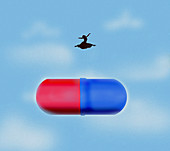Carefree woman leaping over large pill, illustration