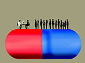People waiting to see doctor on top of pill, illustration