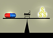 Cost of healthcare, illustration