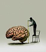 Man standing on chair measuring brain, illustration