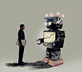 Businessman looking at graph on robot screen, illustration