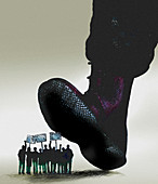 Military boot stepping on protestors, illustration