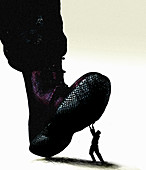Military boot stepping on man, illustration
