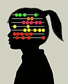 Young girl with abacus inside of head, illustration