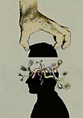 Head full of weird fantasy creatures, illustration