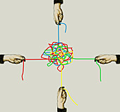 Four hands pulling different strings in knot, illustration