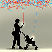 Mother and toddler using smart phones, illustration