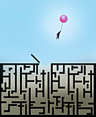 Man escaping from maze holding balloon, illustration