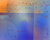 Abstract network pattern of dots and lines, illustration