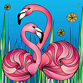 Pink flamingos, illustration